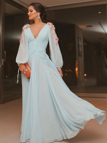 Elegant Light Blue Long Puffy Sleeves Evening Dresses Chiffon Prom Dress PO257