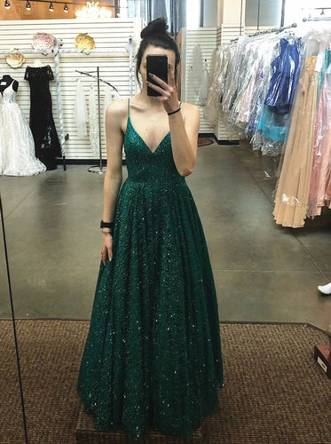 Sparkly A Line V Neck Dark Green Prom Dresses Sequins Backless Evening Dress PO215