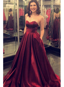 Sweetheart Burgundy Prom Dresses A-line Pockets Formal Party Dresses PO176