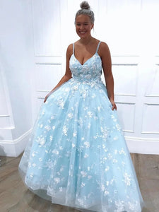 A-line Light Sky Blue Prom Dresses, Appliques Tulle Long Graduation Dress PO221