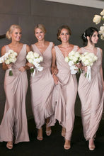 Sheath/Column V Neck Simple Floor Length Pink Bridesmaid Dresses OB355