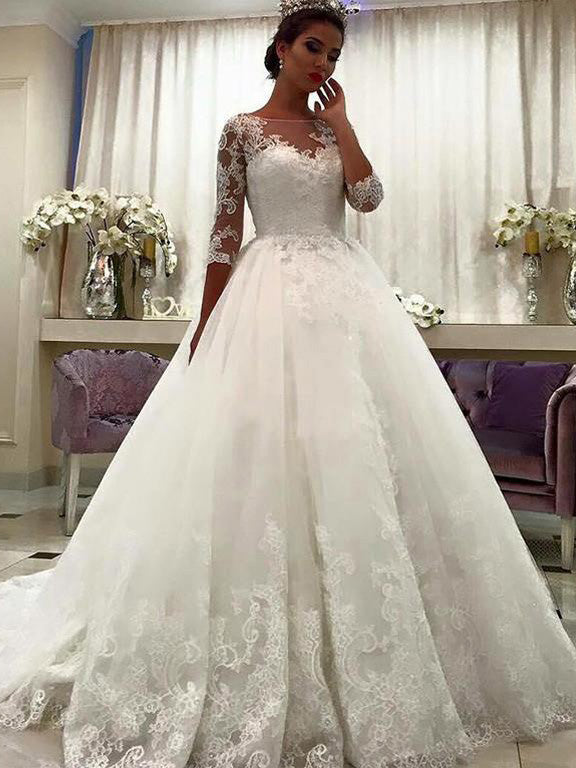 3/4 Lace Sleeves Ball Gown Bateau Court Train Tulle Wedding Dresses OW175