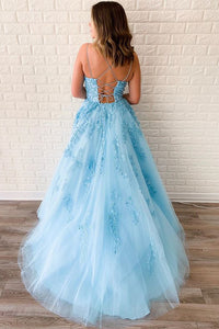 Spaghetti-straps Sky Blue Tulle Long Prom Dresses With Appliques PO164