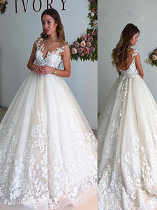 A-Line V-neck Applique Court Train Tulle Ball Gown Wedding Dresses OW176