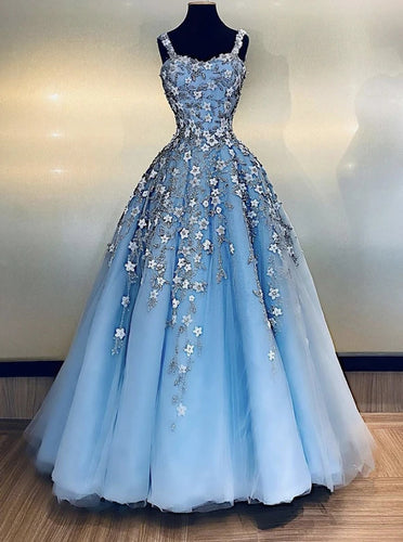 Light Blue Tulle Applique Long Prom Dress Straps Evening Dress PO379