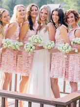 A-line Crew Pink Short Lace Bridesmaid Dresses with Belt OB372
