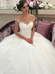 Off-Shoulder Tulle Sleeveless Ball Gown Wedding Dresses OW178