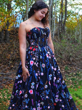 A Line Sweetheart Embroidery Floral Prom Dresses, Long Formal Dress PO274