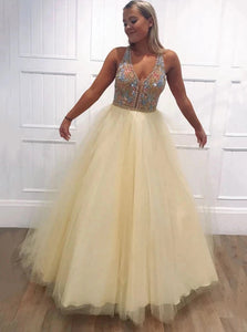 A-line Tulle Beading V Neck Long Prom Dresses Keyhole Evening Dress PO275