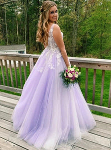 A Line V Neck Lilac Long Prom Dresses, Appliques Long Formal Gowns PO270