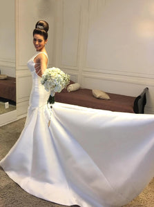 Round Neck Backless Simple Satin Mermaid Wedding Dresses OW696