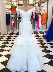 Off Shoulder Lace Appliques Tiered Mermaid Wedding Bridal Dress OW697