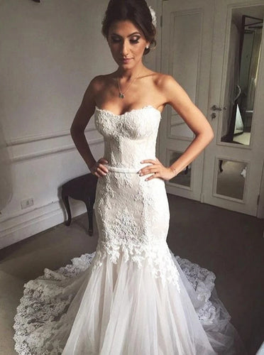 Sweetheart Mermaid Tulle Wedding Dresses Lace Appliques Bridal Gown OW695