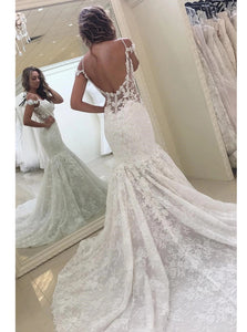 Lace Appliques Backless Wedding Dresses Sleeveless Mermaid Bridal Gown OW687