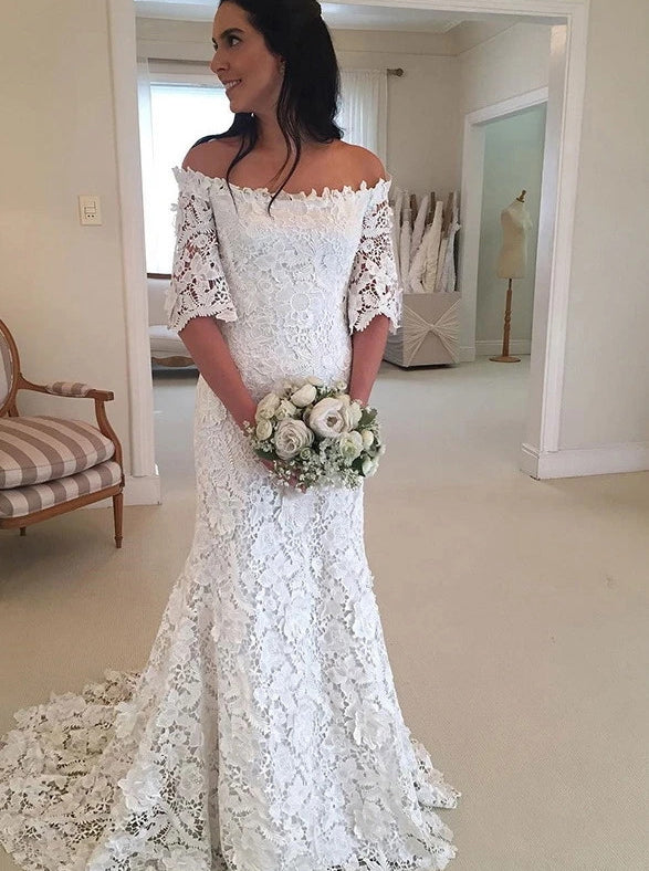 Half Sleeve Lace Wedding Dresses Off Shoulder Mermaid Bridal Gown OW688