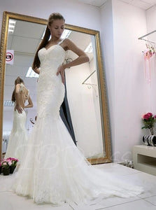 Spaghetti Straps Backless Wedding Dresses Mermaid Bridal Dresses OW685
