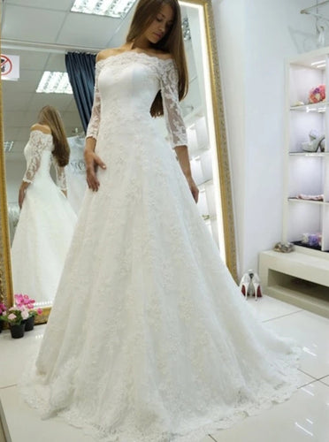 Off Shoulder Long Sleeve Wedding Dresses Lace Appliques Bridal Dresses OW684