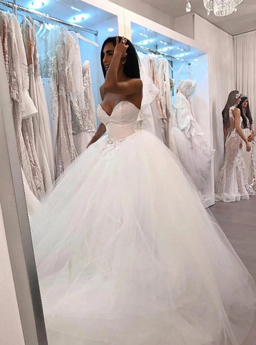 Sweetheart Strapless Tulle Long Ball Gown Wedding Dresses OW681
