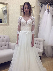 V Neck Lace Appliques 3/4 Sleeve Open Back Wedding Dresses OW679
