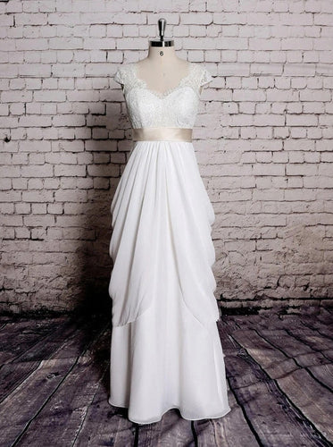 Princess V Neck Cap Sleeve Lace Chiffon Wedding Dresses With Ribbons OW680