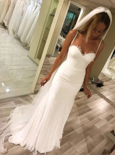 Spaghetti Straps Sweetheart Sheath Wedding Dresses Long Bridal Dresses OW682