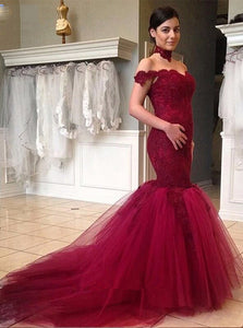 Off the Shoulder Mermaid Tulle Evening Dress Burgundy Prom Gown PO304