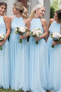 Cheap Chiffon High Neck Light Sky Blue Simple Long Bridesmaid Dresses OB398