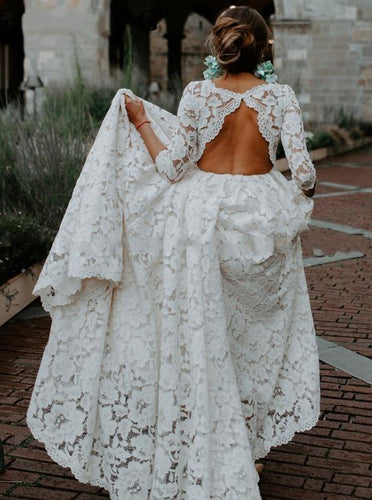 Bohemian Lace Wedding Dress with 3/4 Sleeves Keyhole Beach Wedding Dresses OW659
