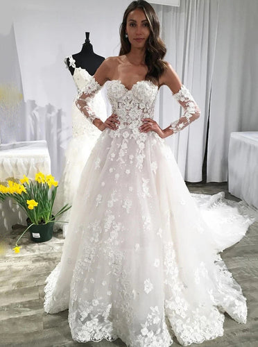 Sweetheart Lace Appliques Backless Wedding Dresses With Sleeves OW699