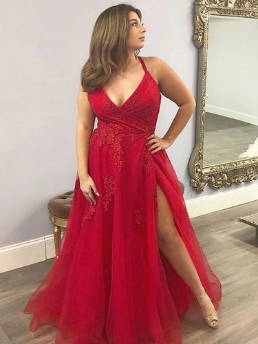 V Neck Red Tulle Prom Dresses, Long Plus Size Formal Evening Dresses PO391