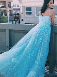 Charming A Line Spaghetti Straps Tulle Starry Night Long Prom Dresses PO269