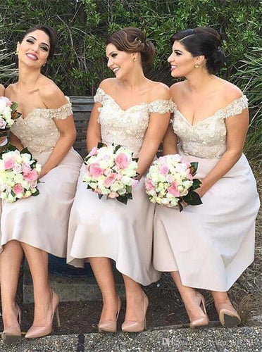 Off-Shoulder Tea-Length Satin Bridesmaid Dresses with Appliques OB376