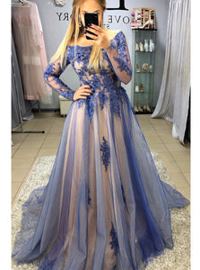 A-Line Long Sleeves Navy Blue Long Prom Dresses with Appliques PO312