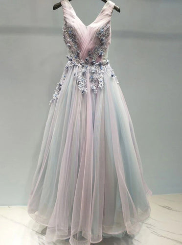 A-line V Neck Lace Appliques Ombre Long Prom Formal Dresses PO324