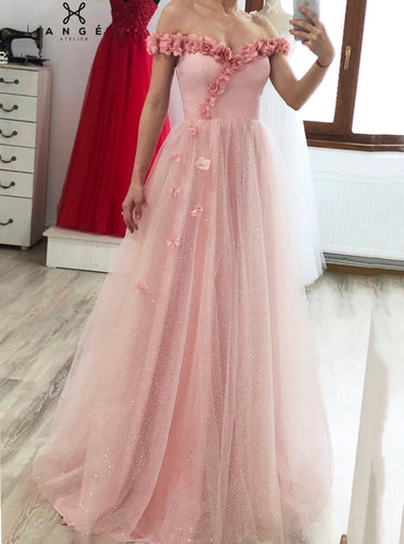 A-line 3D Appliqué Off Shoulder Tulle Glitter Long Prom Dresses PO086