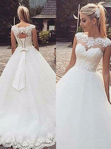 Sleeveless Lace Bateau Lace UP Bowknot Ball Gown Tulle Wedding Dresses OW179