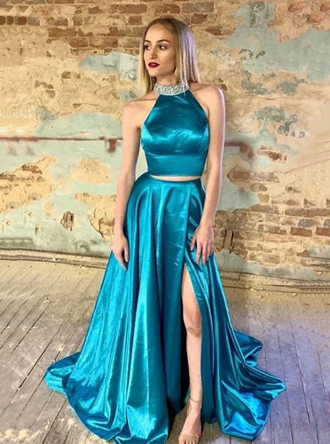 Beading Halter Long Prom Dresses Two Pieces Evening Gown With Split PO173
