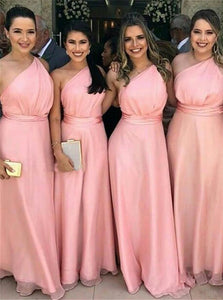 Simple One-Shoulder Pink Chiffon Long Bridesmaid Dresses OB367