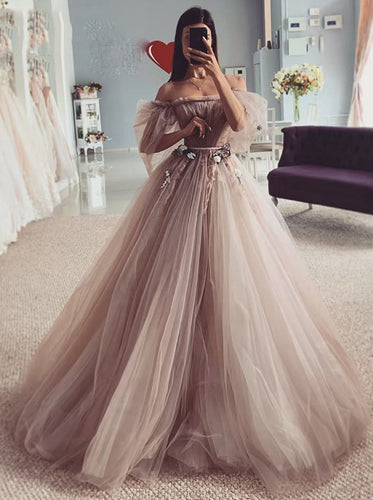 Fairy-tales Strapless Wedding Dresses 3D Flowers Puff Sleeves Bridal Gowns OW675