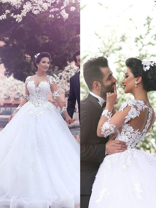 Sweetheart Applique Long Sleeves Tulle Ball Gown Wedding Dresses OW180