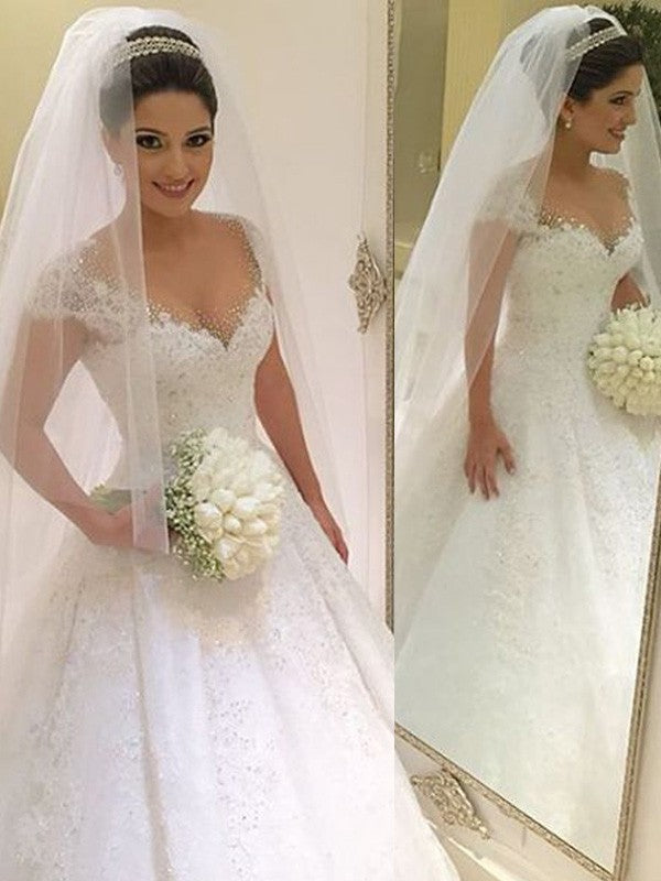 V-neck Sleeveless Ball Gown Floor-Length Tulle Wedding Dresses With Beading OW109
