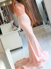 Pink Mermaid Sleeveless High Neck Lace Satin Dress with Sweep Train, OP103
