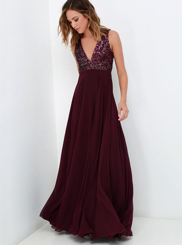 Sequin Top Burgundy Bridesmaid Dresses, A-line Long Chiffon Wedding Party Dress OB280
