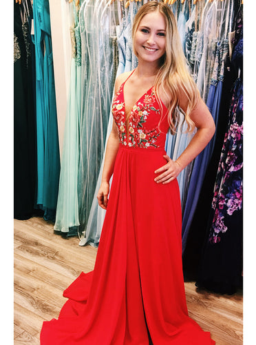 Red Chiffon Long Prom Dresses Embroidered Evening Party Dress PO025