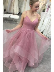 Glitter Straps Ruffled Pink Long Prom Dresses Backless Formal Gown PO316