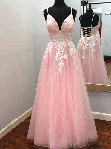 Elegant A-line V Neck Tulle Long Prom Dress with Appliques PO318