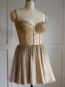 Sparkly Straps Golden Beading Short Prom Homecoming Dresses OM220