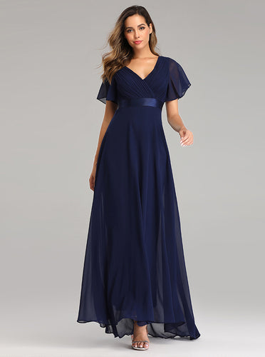 Flowy Chiffon Prom Dresses V-neck Ruffled Sleeve Formal Evening Dress E90812