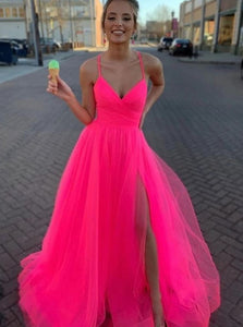 Fluorescent Fuchsia Spaghetti Straps Long Prom Dresses With Split PO338