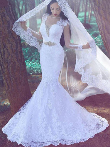 Sweetheart Applique Long Sleeves Trumpet/Mermaid Lace Wedding Dresses OW183